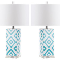 Diamonds Table Lamp Set, Teal, Table Lamps