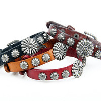 Rock Punk Style Brown Leather with Star Rivet Women Leather Cuff Bracelet, Men Bangle Cuff  X12-BR