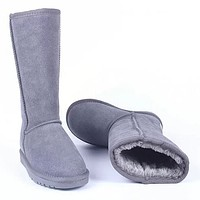 UGG Autumn And Winter Women Men Fashion Wool Snow Boots Shoes Gray