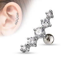 Clear Journey Curve 5 Gems Tragus/Cartilage Piercing Stud 316L Surgical Steel Helix Body Jewelry