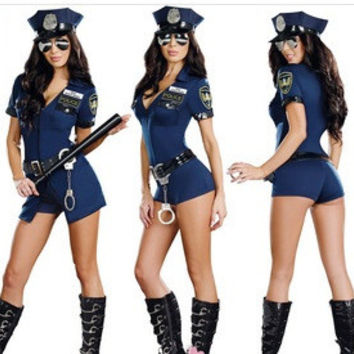 Female Black Cop Uniform Outfits Sexy Police Officer Costume Women Club Game Deguisement Halloween Cosplay Costumes Plus Size