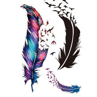 Waterproof Feather Color Temporary Tattoos Stickers DIY Body Art Beauty Makeup