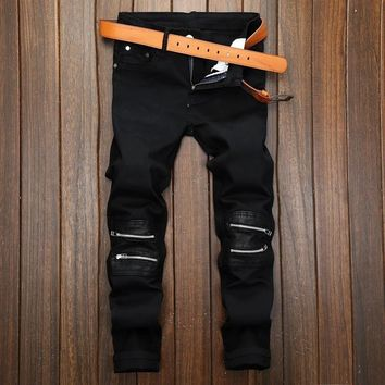 Slim Casual Stretch Zippers Black Pants [1922679996509]