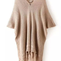 Khaki V Neck Half Sleeve Fringed Buttons Knit Sweater