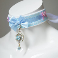 Kitten play day collar - Sweet Lorette - ddlg princess fairy kei kawaii cute neko pet girl lolita costume - blue pink and white