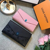 Louis Vuitton LV New Hot Sale Men's and Women's Embossed Flap Wallet