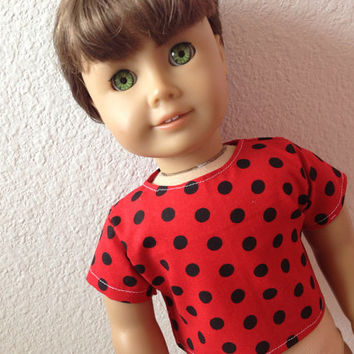 Red with Black Polka Dot doll shirt : fits American Girl and most 18 inch dolls