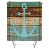 Waterproof & Mildewproof Polyester Shower Curtain Nautical Anchor / Greenery Trees / Spanish House Bathroom Decor With Hooks