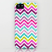 Chevron Glitter Rainbow Coloful Girly Bling iPhone Case by Gir