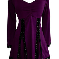 Contrast Lace-Up Design Long Sleeve Gothic Top