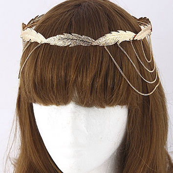 Feather Connected Crown Head Chain