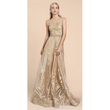 Andrea & Leo A0106 Butterfly Wing Design Lace Long Gold Dress
