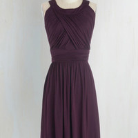 Long Sleeveless A-line So Happy to Gather Dress in Plum