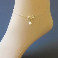New Arrival Stylish Gift Cute Shiny Sexy Jewelry Style Fashion Accessory Pendant Pearls Gold Ladies Anklet [6768753351]