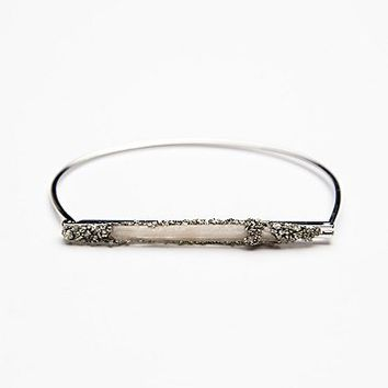Marly Moretti Womens Crystal Bar Bracelet - Silver One