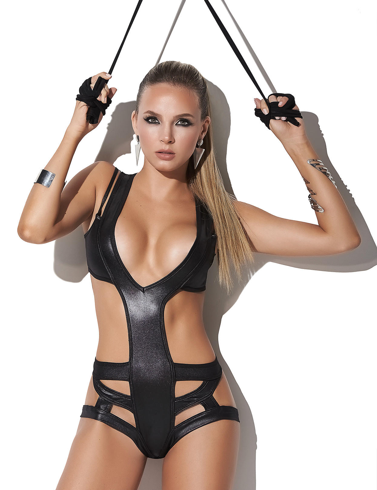 Image of Wet Look Lace-Up Bodysuit