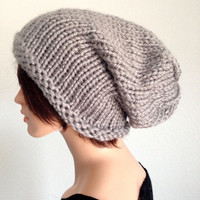 Hand Knitted Slouchy Beanie in Dallas Grey