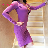 REAL PHOTO Cut Out Deep V Neck Midi Dress Bodycon Long Sleeve Purple Lace Up String Keyhole Sexy Club Party Women Summer 2016