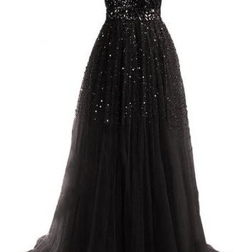 Strapless Sequined Maxi Dress