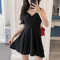 Sexy Deep V-Neck High Waist Mini Dress