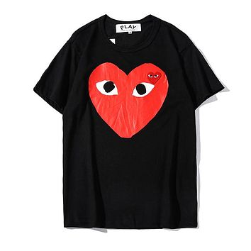 Comme Des Garçon Play Summer Popular Women Men Casual Heart Print Short Sleeve T-Shirt Top Black
