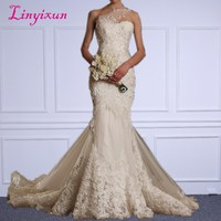 Linyixun Ivory Lace vestido de noiva Sweetheart One Shoulder Zipper Mermaid Wedding Dress 2018 New Arrival Style Bridal Gown
