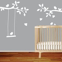 Tree Branches wall decal with birds Nursery Wall Decal Decor Art Sticker Mural , swing , Kid Nursery Baby Decor
