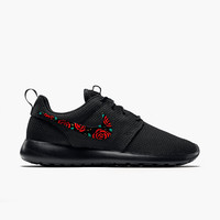 Nike Roshe Floral Design, Hand Painted, Red and Gold with Teal Accent, Custom Roshe Run, women and men