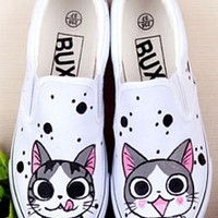 Hand-Painted Cartoon Chi's Sweet Home Canvas Round Toe Sneakers For Women