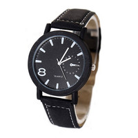 Unisex Vintage Lucky Number 8 Quartz Watch Leather Strap Wrist Black