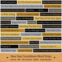 New Year Countdown Word Strips Black Gold Silver Clip Art Word Stash Word Bits Word Art Phrases Digital Scrapbook Elements Printable Clipart