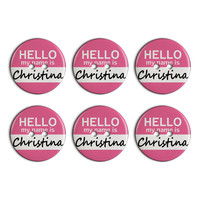 Christina Hello My Name Is Plastic Resin Button Set of 6