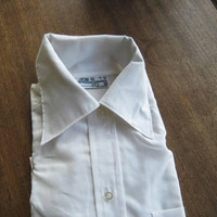 Off-White Longsleeve Men's Vintage Shirt Sz 16-36 Large Permanent Press Cotton Blend Pointy Collar Button-Up Clerks/Career/Office Shirt
