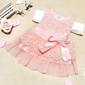 High quality Baby Girl Dresses children clothing cotton ball gown Girls Dress kids bow lace princess clothes