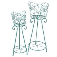 One Kings Lane - Bright Ideas - S/2 Round Plant Stands, Turquoise