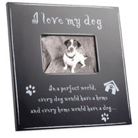 Large Black Wood I Love My Dog 4-Inch x 6-Inch Picture Frame