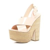 Light pink cross strap platform sandals