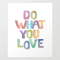 """Inspirational Quote """"Do what you love"""" Watercolor Letters Typography Print Wall Art Motivational Art Art Print by PrintableLifeStyle"""