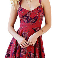 Red Floral Print Layered Strappy Back Skater Dress