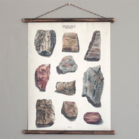 Rocks - Geology - canvas poster - vintage educational chart illustration ROP2001
