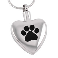 "Cremation ""Dog Paw Heart""  Urn Necklace"