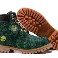 PEAPON Timberland Rhubarb Boots Canvas GreenWaterproof Martin Boots