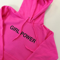 Girls Power Hoodie, Feminism Sweat, Pink Hoodie Girl Power, Feminist Hoodie, Girls Clothes, Women's Sizing