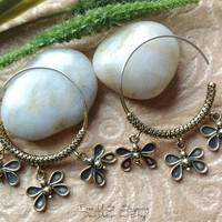 """Tribal Hanging Earrings, """"Butterflies"""" Brass, Sterling Posts, Handcrafted"""