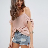 ASOS Cold Shoulder Cami in Crinkle with Tie Sleeve at asos.com
