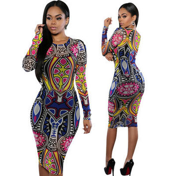 2017 Trending Fashion Floral Printed Floral Printed Ethnic Tribal Nightclub Clubbing Party One Piece Dress _ 11340