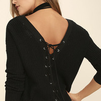 Drop the V Black Lace-Up Sweater