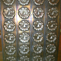Antique Chocolate Butter Mold Copper Coated Tin XMAS Wreath with Bell Motif