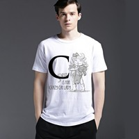 Cotton Men's Fashion Summer Strong Character Short Sleeve Casual Stylish Tee Fashion T-shirts = 6451310979