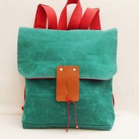 Supermarket: Cute Green Waxed Canvas Backpack with Adjustable Red Cotton Strap / Free Express Shipping / School / Travel / Rucksack / Laptop Bag from Ottobags